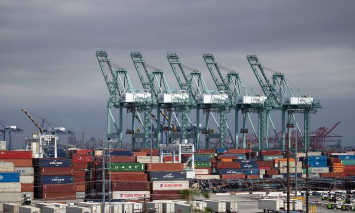 Containers are pictured at the Port of Los Angeles, in Los Angeles, Calif., on April 13, 2020. (Mario Anzuoni/Reuters)
