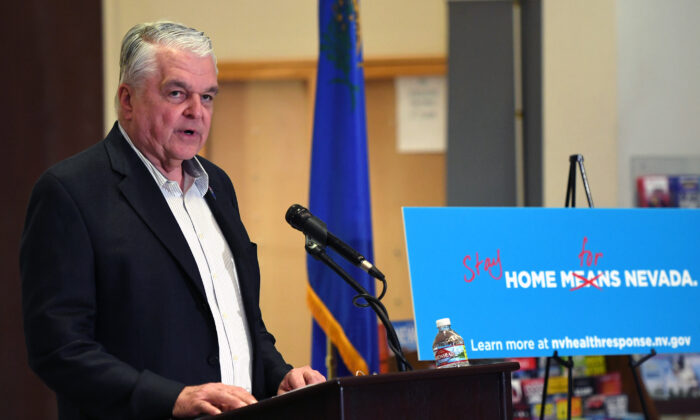 Nevada Gov. Steve Sisolak speaks during a news conference on the state's response to the coronavirus outbreak at the Grant Sawyer State Office Building in Las Vegas, Nev., on March 17, 2020. (Ethan Miller/Getty Images)