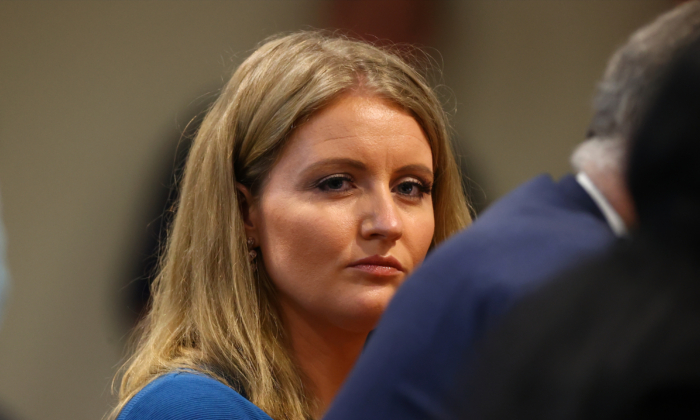 Jenna Ellis, a member of President Donald Trump's legal team, participates in a hearing before the Michigan House Oversight Committee, in Lansing, Mich., on Dec. 2, 2020. (Rey Del Rio/Getty Images)