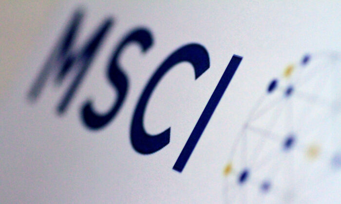 The MSCI logo is seen on June 20, 2017. (Thomas White/Reuters)