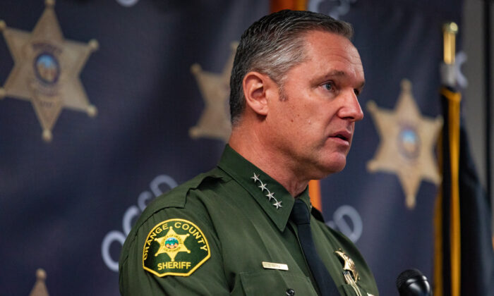 Orange County Sheriff Don Barnes speaks at a press conference in Santa Ana, Calif., on Aug. 7, 2020. (John Fredricks/The Epoch Times)