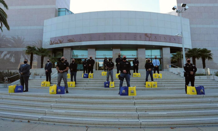 Police officers stand in front of Santa Ana Police Department headquarters in Santa Ana, Calif., on Nov. 25, 2020. (Courtesy of the Santa Ana Police Department)