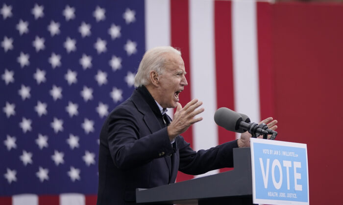 Democratic presidential candidate Joe Biden urges Georgia voters to vote in the upcoming Senate runoff elections, in Atlanta, Ga., on Dec. 15, 2020. (Drew Angerer/Getty Images)