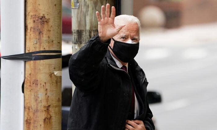 Democratic presidential candidate Joe Biden arrives at an event in Wilmington, Del., on, Dec. 16, 2020. (Kevin Lamarque/Pool/Reuter)