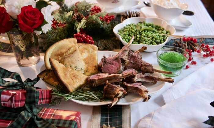 On the menu: Herb-crusted rack of lamb, Yorkshire pudding, and peas with butter and mint. (Victoria de la Maza)