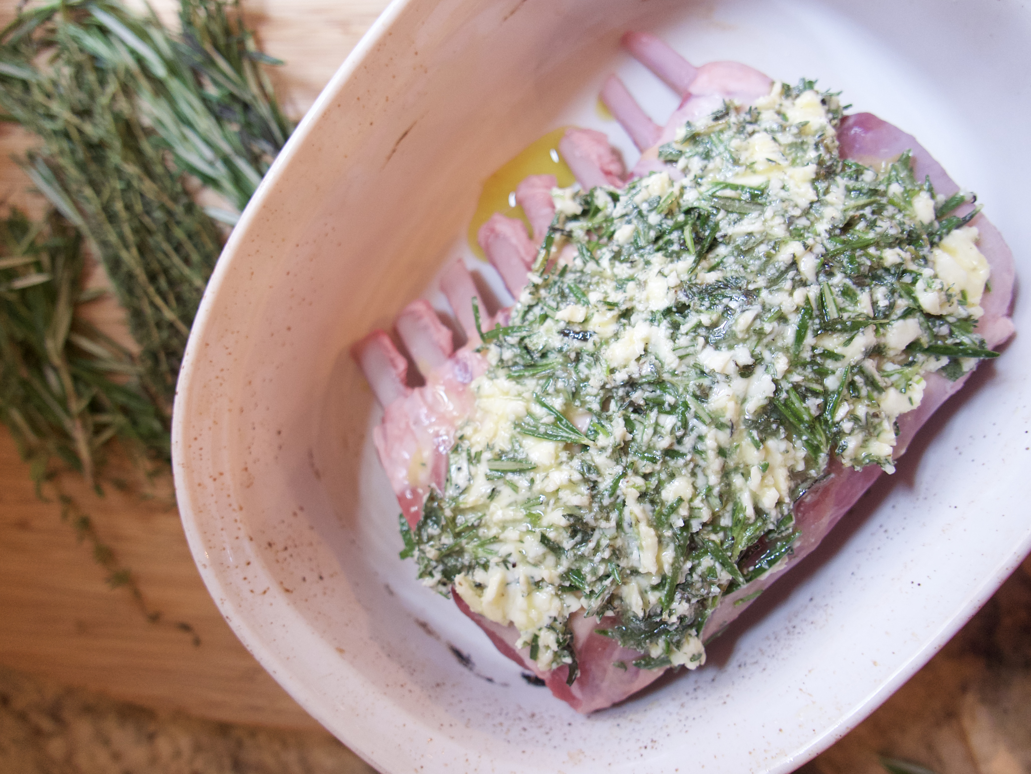 herb butter on rack of lamb