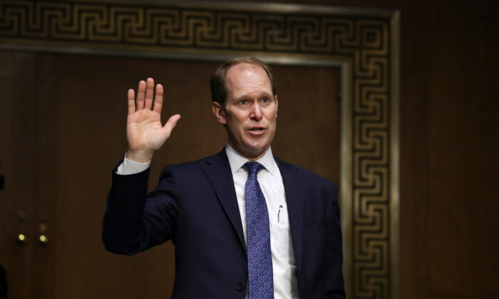 U.S. Attorney for the Northern District of Indiana Thomas Kirsch II is sworn in during his confirmation hearing before the Senate Judiciary Committee in the Dirksen Senate Office Building on Capitol Hill in Washington on Nov. 18, 2020. (Chip Somodevilla/Getty Images)