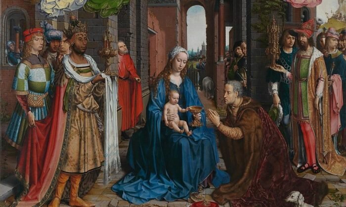 "A detail from ""Adoration of the Magi,"" circa 1510-1515, by Jan Gossaert. Oil on Wood, 69.7 inches by 63.7 inches. National Gallery London. (PD-US)"