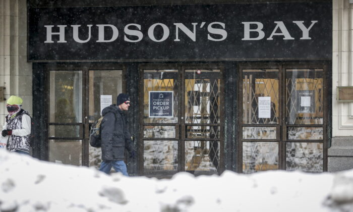 A Hudson's Bay store in Calgary on March 18, 2020. The company has launched legal action against lockdown measures in Ontario. (The Canadian Press/Jeff McIntosh)
