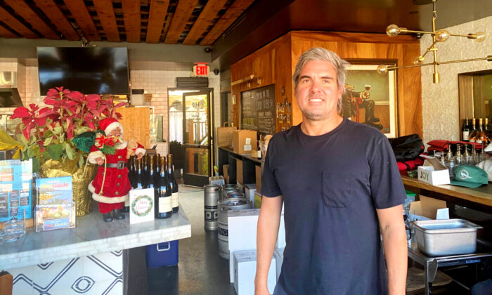 Wine Gallery Laguna Beach owner Chris Olsen turned his boutique winery-eatery into a takeout-delivery only model. (Jamie Joseph/The Epoch TImes)