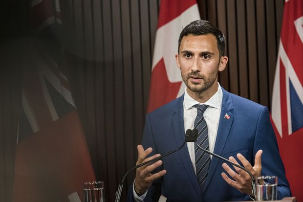 Ontario Education Minister Stephen Lecce speaks at Queen's Park, in Toronto, on Aug, 13, 2020. (The Canadian Press/ Christopher Katsarov)