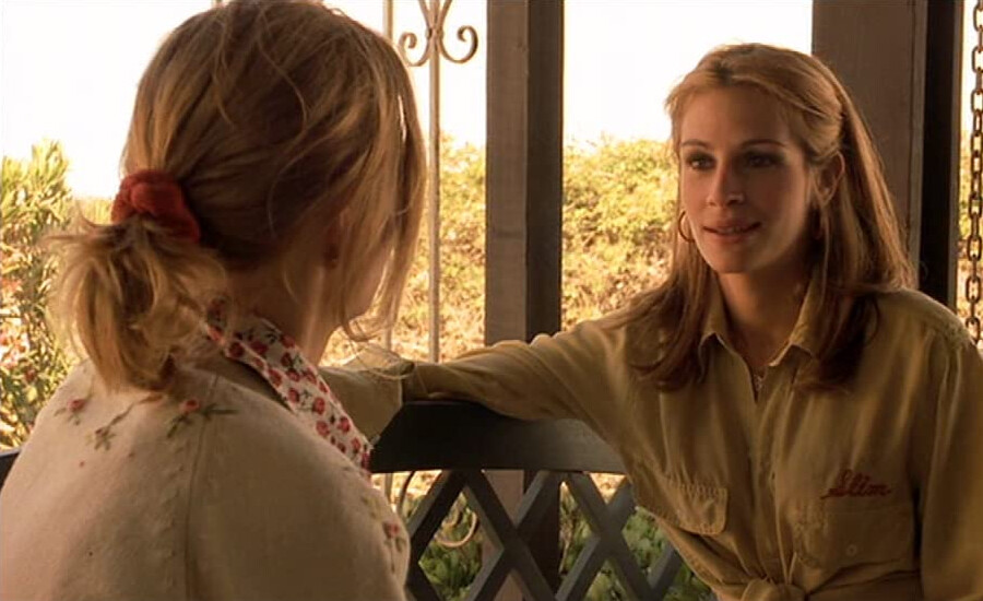 """two women talking on porch in """"Erin Brockovich"""""""
