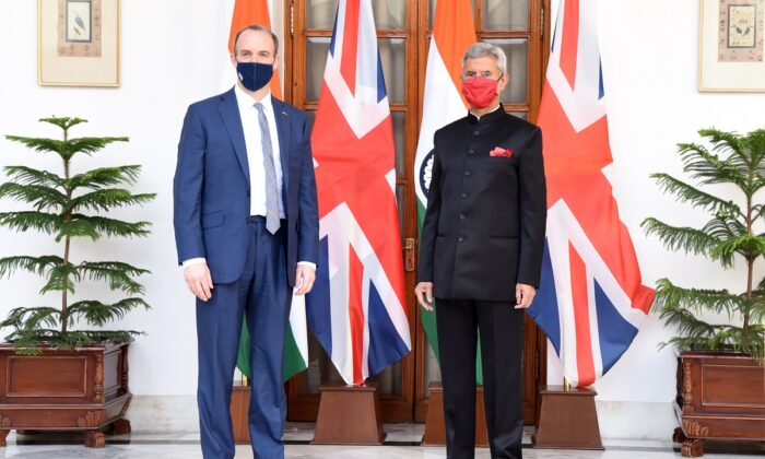 UK Foreign Secretary Dominic Raab and Indian Minister for External Affairs Subrahmanyam Jaishankar in Delhi on Dec. 15, 2020. (Pic Courtesy Govt. of UK)