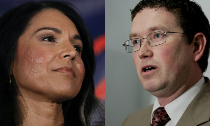 Reps. Tulsi Gabbard (D-Hawaii) (L) and Thomas Massie (R-Ky.) in file photographs. (Getty Images)