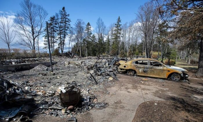 A fire-destroyed property registered to Gabriel Wortman at 200 Portapique Beach Road is seen in Portapique, N.S., on May 8, 2020. (The Canadian Press/Andrew Vaughan)