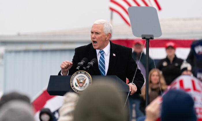 Vice President Mike Pence speaks during a Defend The Majority campaign event in Columbus, Ga., on Dec. 17, 2020. (Elijah Nouvelage/Getty Images)