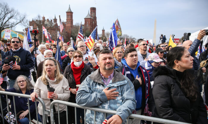 """People attend the """"Let the Church ROAR"""" National Prayer Rally on the National Mall in Washington on Dec. 12, 2020. (Samira Bouaou/The Epoch Times)"""