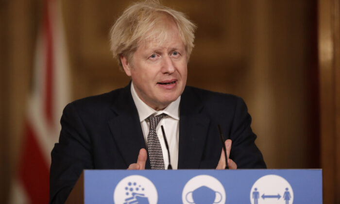 Prime Minister Boris Johnson speaks during a news conference inside 10 Downing Street in London, UK, on Dec. 16, 2020. (Matt Dunham/WPA Pool/Getty Images)