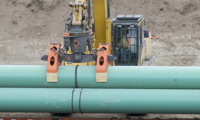 Construction of the Trans Mountain pipeline is seen under way in Kamloops, B.C., on Sept. 1, 2020. (Jonathan Hayward/The Canadian Press)