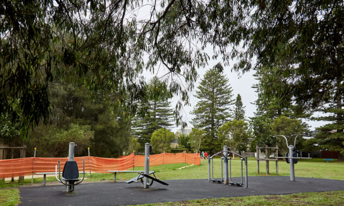 An public outdoor gym is seen closed at Queenscliff in Sydney, Australia on Dec. 19, 2020.(Lee Hulsman/Getty Images)