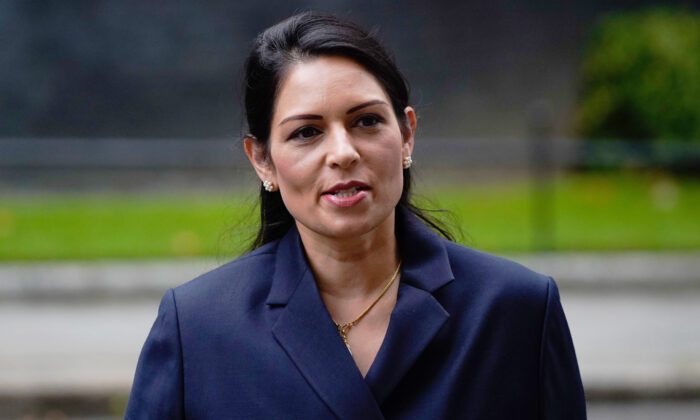 UK Home Secretary Priti Patel arrives at Downing Street in London on Sept. 8, 2020. (Niklas Halle'n/AFP via Getty Images)