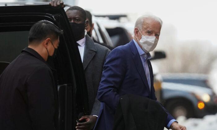 Democratic presidential candidate Joe Biden walks in Wilmington, Del., on Dec. 17, 2020. (Kevin Lamarque/Reuters)