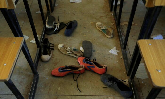 Shoes of the kidnapped students from Government Science Secondary School are seen inside their class room Kankara, Nigeria, on Dec. 16, 2020. (Sunday Alamba/AP Photo)