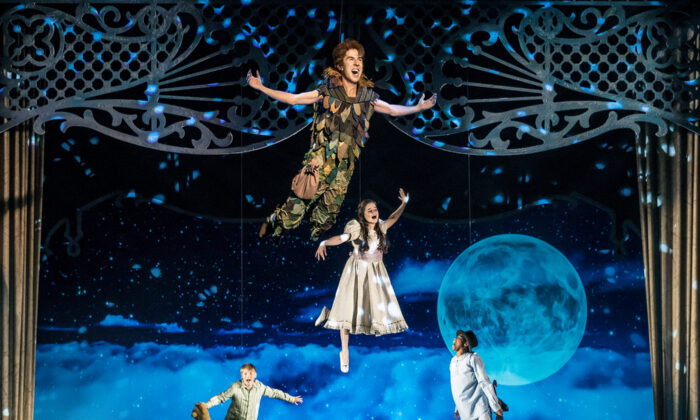 "Peter Pan (Johnny Shea, top) leads the Darling siblings (left to right,  Carter Graf, Elizabeth Stenholt, and Cameron Goode) on a high-flying adventure to Neverland in ""Peter Pan, A Musical Adventure,"" streaming free on-demand for the holiday season. (Liz Lauren)"
