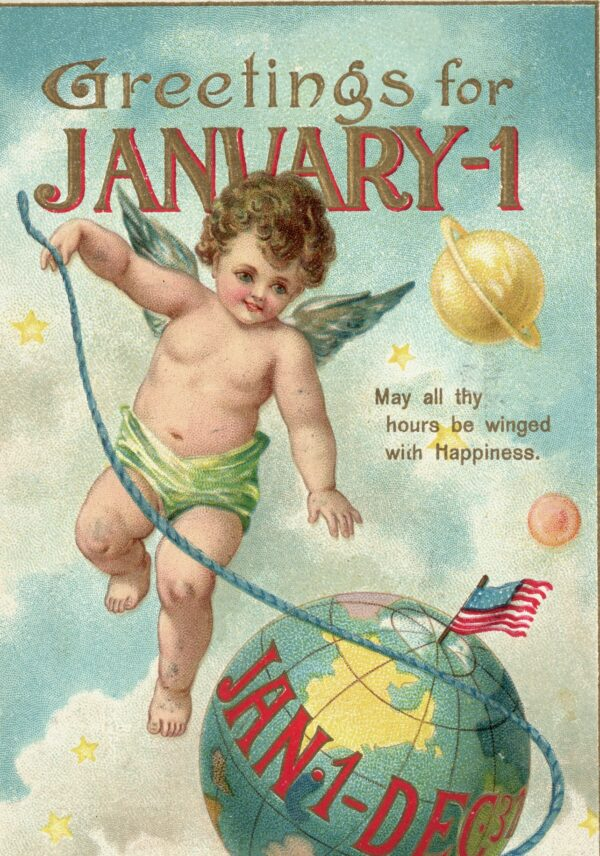 postcard with baby new year_