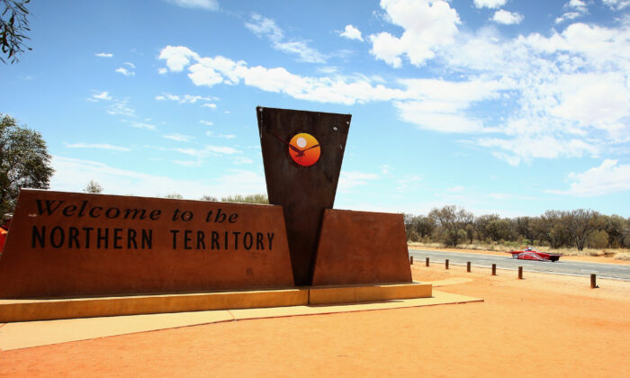 Northern Terrirtory sign outside of Alice Springs on Oct. 20, 2015. (Mark Kolbe/Getty Images)
