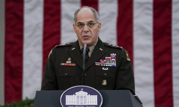 Army Gen. Gustave Perna, who is leading Operation Warp Speed, speaks during at an event in the Rose Garden of the White House in Washington in a Nov. 13, 2020, file photograph. (Evan Vucci/AP Photo)