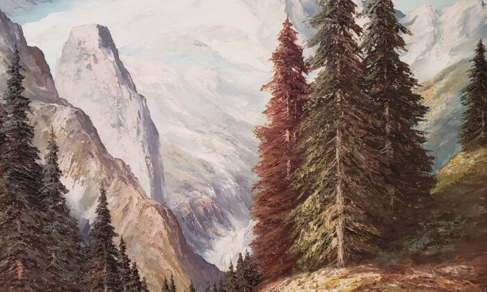 """A detail from """"The Mountain and the Valley,"""" circa 1970, although signed, by an unknown artist. Oil on Canvas, 48 inches by 36 inches. (Courtesy of Wayne Barnes)"""