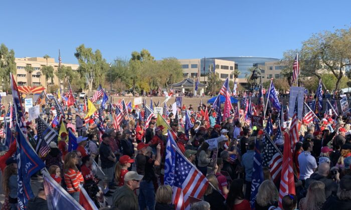 "Supporters of President Donald Trump gather at a ""Stop the Steal"" rally at the Arizona State Capitol in Phoenix, Ariz., on Dec. 19, 2020. (Linda Jiang/The Epoch Times)"