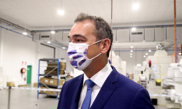 South Australian Premier Steven Marshall  with an Australia day mask made by Detmold Group in Adelaide, Australia on Nov. 30, 2020. (Kelly Barnes/Getty Images)