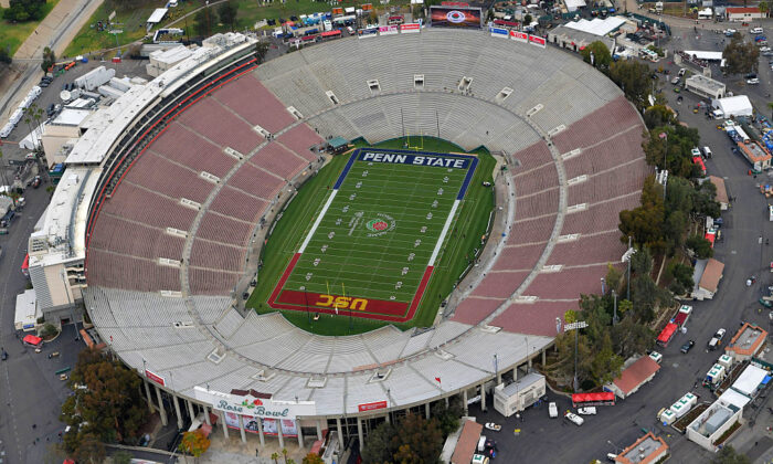 An aerial view prior to the 2017 Rose Bowl Game between the USC Trojans and the Penn State Nittany Lions at the Rose Bowl in Pasadena, Calif., on Jan. 2, 2017. (Photo by Tournament of Roses-Pool/Getty Images)
