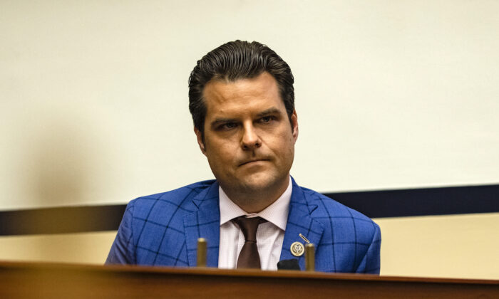 Rep. Matt Gaetz (R-Fla.) during a House Armed Services Subcommittee hearing with members of the Fort Hood Independent Review Committee on Capitol Hill in Washington, on Dec. 9, 2020. (Samuel Corum/Getty Images)