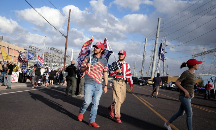 Supporters of President Donald Trump are seen during a demonstration in front of the Maricopa County Elections Department office in Phoenix on Nov. 7, 2020. (Mario Tama/Getty Images)