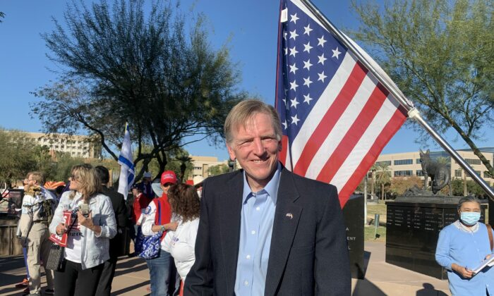 """Rep. Paul Gosar (R-Ariz.) at a """"Stop the Steal"""" rally in Phoenix, Arizona, on Dec. 19, 2020. (Linda Jiang/The Epoch Times)"""