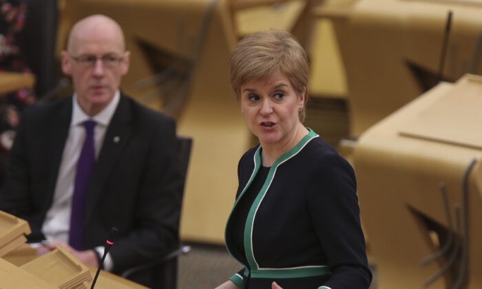 Scotland's First Minister Nicola Sturgeon attends First Minister's questions at the parliament in Holyrood in Edinburgh on Dec. 17, 2020. (Fraser Bremner - Pool/Getty Images)