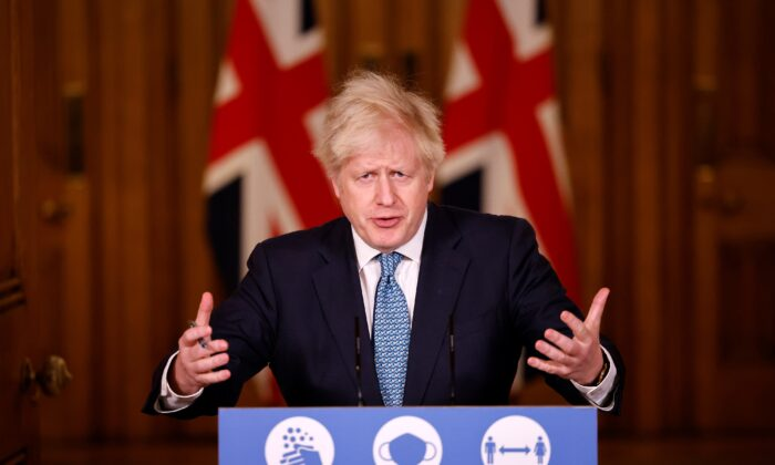 UK Prime Minister Boris Johnson speaks during a virtual press conference inside 10 Downing Street, London, on Dec. 21, 2020. (Tolga Akmen - WPA Pool/Getty Images)