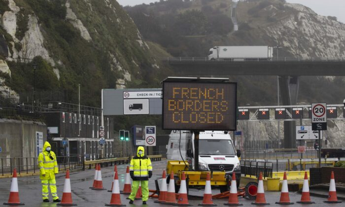 Dover Port is closed as new travel restrictions to the continent remain in place, in Dover, England, on Dec. 21, 2020. (Dan Kitwood/Getty Images)