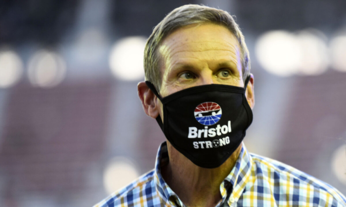 Tennessee Gov. Bill Lee gives the command to start engines prior to the NASCAR Cup Series All-Star Race at Bristol Motor Speedway in Bristol, Tenn., on July 15, 2020. (Jared C. Tilton/Getty Images)