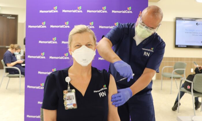 Intensive care unit (ICU) nurse Brenda Acosta was among MemorialCare's first frontline workers to receive the COVID-19 vaccine in Orange County, Calif., during the week ending Dec. 18, 2020. (Courtesy of MemorialCare)