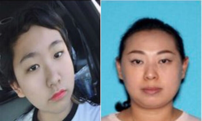 Amber Aiaz (R), also known as Mei Yi Wu, and her 13-year-old daughter Melissa Fu in file photos. They're believed to have been kidnapped from their home in Irvine, Calif., on Nov. 22, 2019. (Courtesy of the Irvine Police Department)
