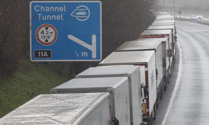 Lorries queue during Operation Stack on the M20 towards Dover in England on Dec. 21, 2020. (Dan Kitwood/Getty Images)