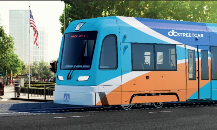 An artistic rendering of the OC Streetcar set to begin operations in 2022, with track under construction, in Orange County, Calif., starting in December, 2020. (Courtesy of the Orange County Transportation Authority)