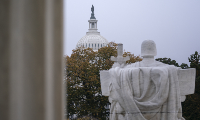 The U.S. Capitol is seen from the Supreme Court in Washington on Oct. 20, 2020. (Stefani Reynolds/Getty Images)