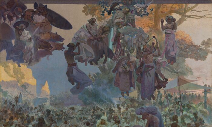 """""""The Slav Epic: No. 2: The Celebration of Svantovit: When Gods Are at War, Salvation Is in the Art,"""" 1912, by Alphonse Maria Mucha. Egg Tempera and Oil on Canvas, 20 feet by 26.5 feet. National Gallery in Prague. (PD-US)"""