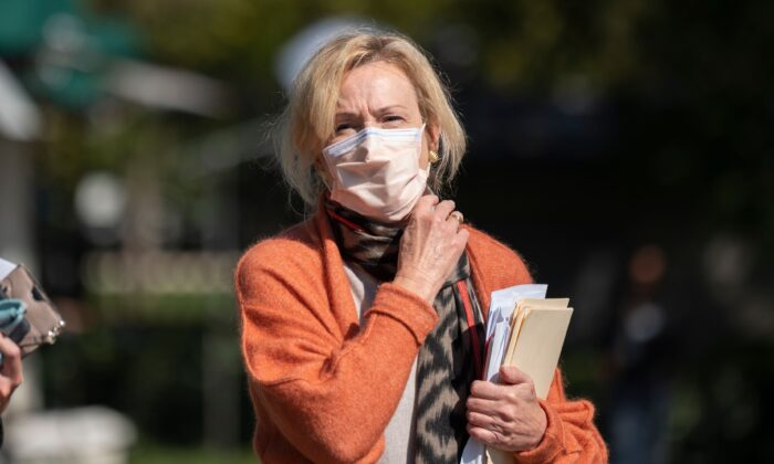 Response coordinator for White House Coronavirus Task Force Dr. Deborah Birx looks on after giving a network interview at the White House in Washington on Sept. 30, 2020. (Andrew Caballero-Reynolds/AFP via Getty Images)