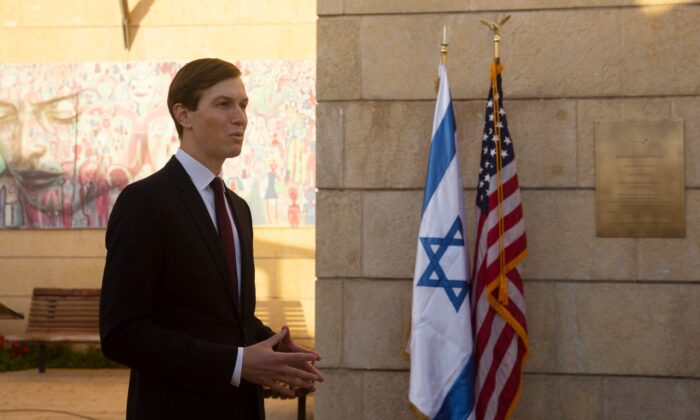 White House Senior Adviser Jared Kushner speaks to journalists after U.S. Ambassador David Friedman unveiled a plaque at the U.S. embassy designating the Kushner Courtyard, on Dec. 21, 2020. (Maya Alleruzzo/Pool/AP Photo)